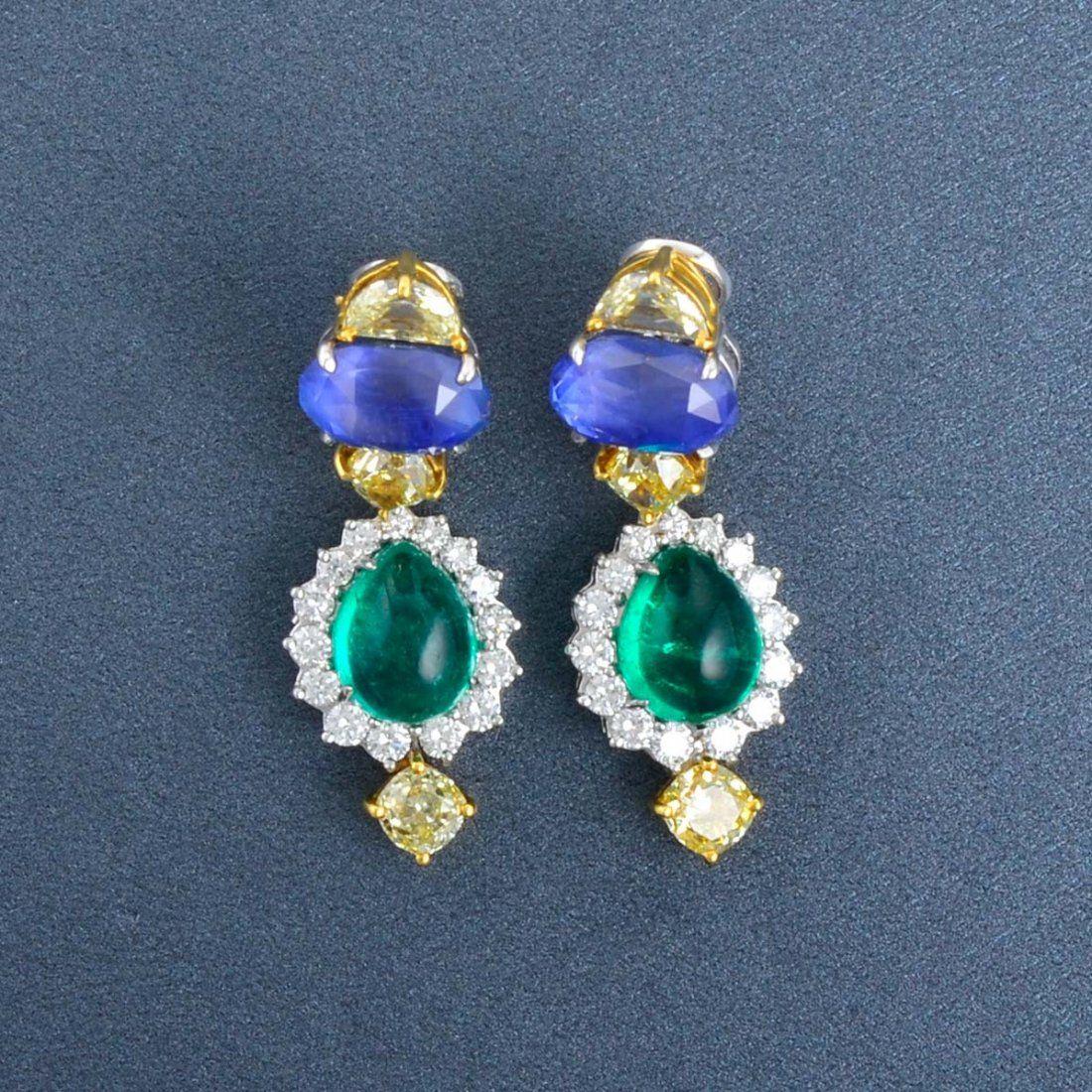 Pair of Multi Colored Gem Stone Earrings
