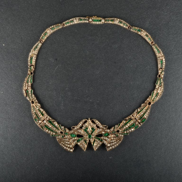 Silver and 14K YG Diamond and Emerald Necklace