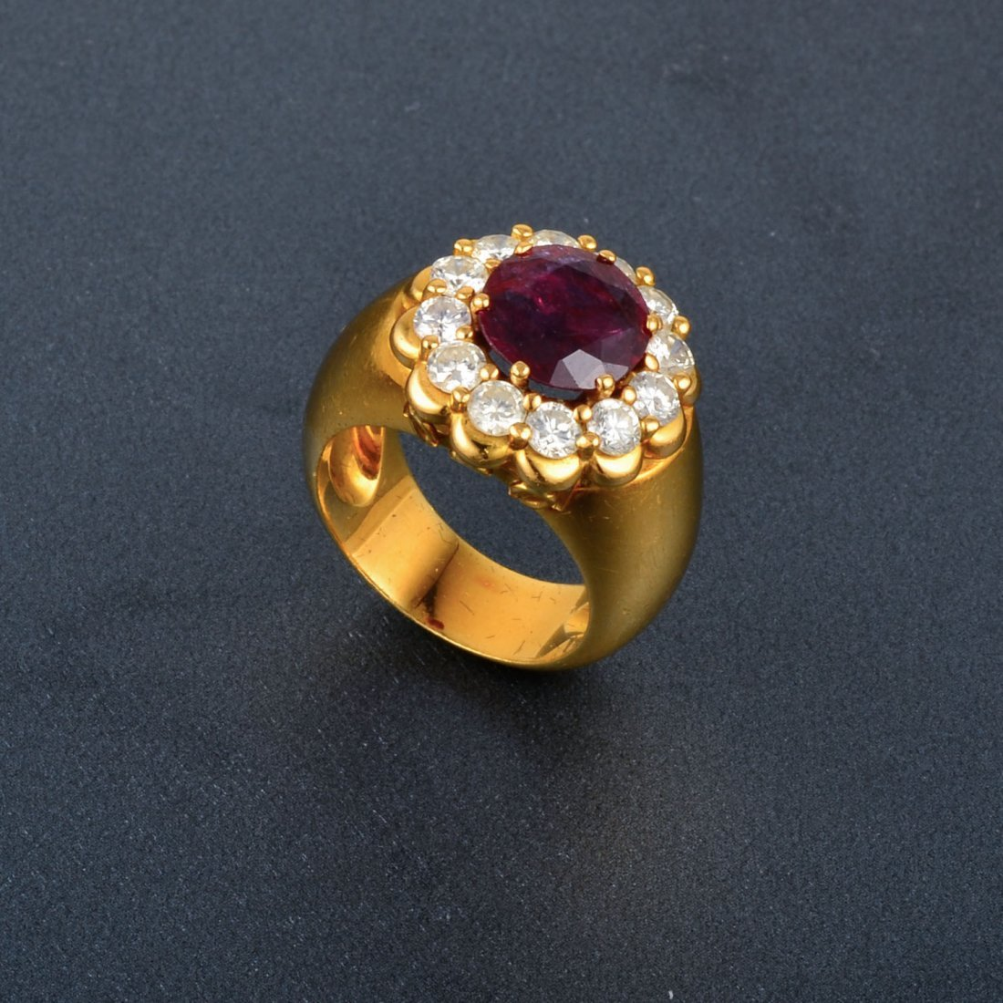 18K YG Diamond Ruby Ring