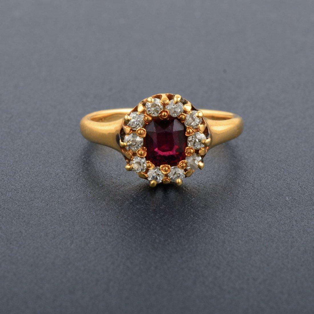 18K YG Ruby and Diamond Ring