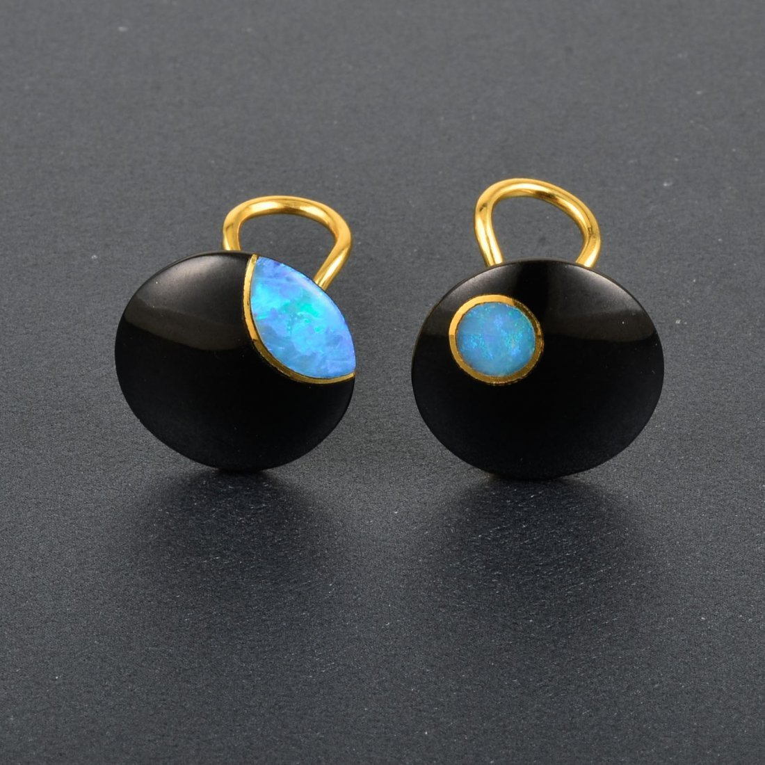 Tiffany & Co., 18K YG Onyx and Opal Earrings