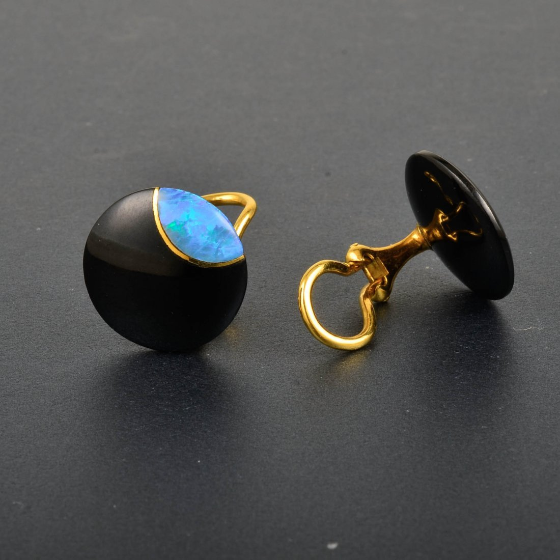 Tiffany & Co., 18K YG Onyx and Opal Earrings - 2