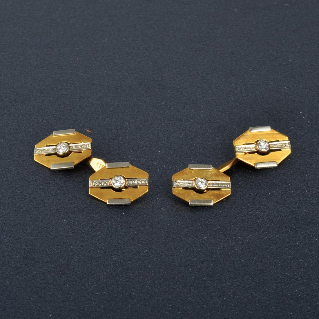 Plat. 18K YG Diamond Cufflink