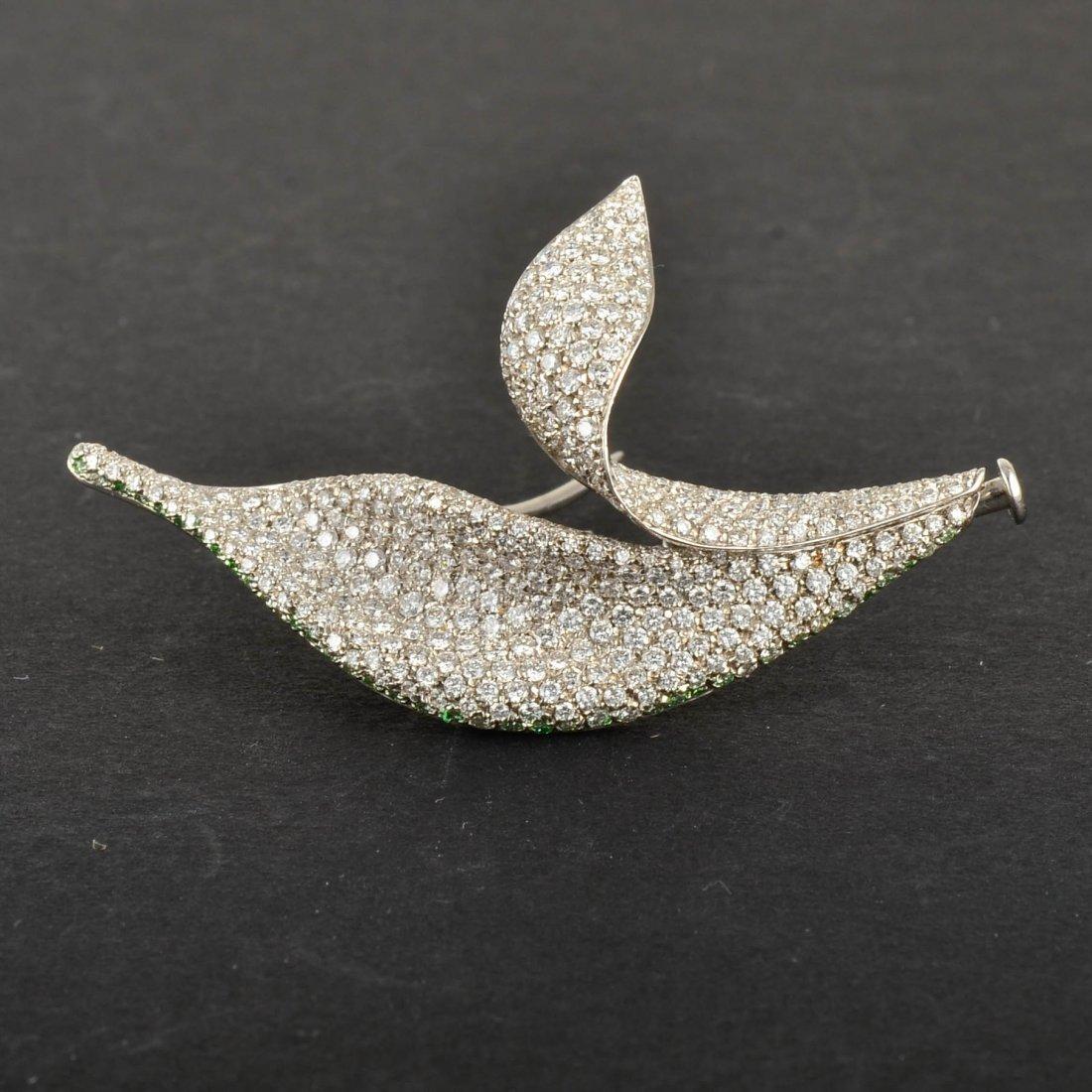 18K WG Diamond Leaf Shaped Brooch