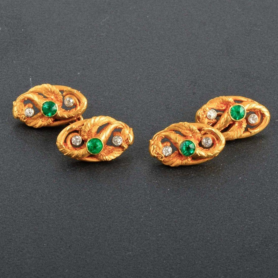 Art Nouveau 18K YG Emerald and Diamond Cufflink
