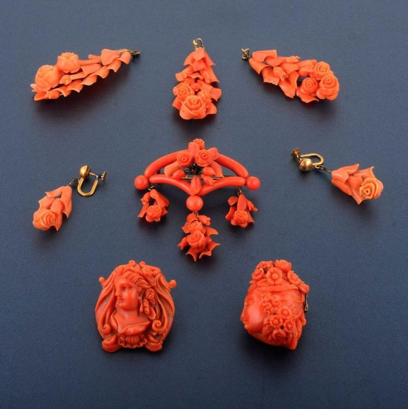 Lot of YG  Carved Coral Jewelry