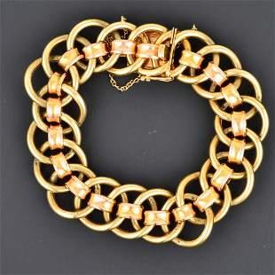 Two-Tone 14K YG & RG Link Bracelet
