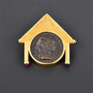 18K YG Multi-stone Medallion Pendant with Greek Coin