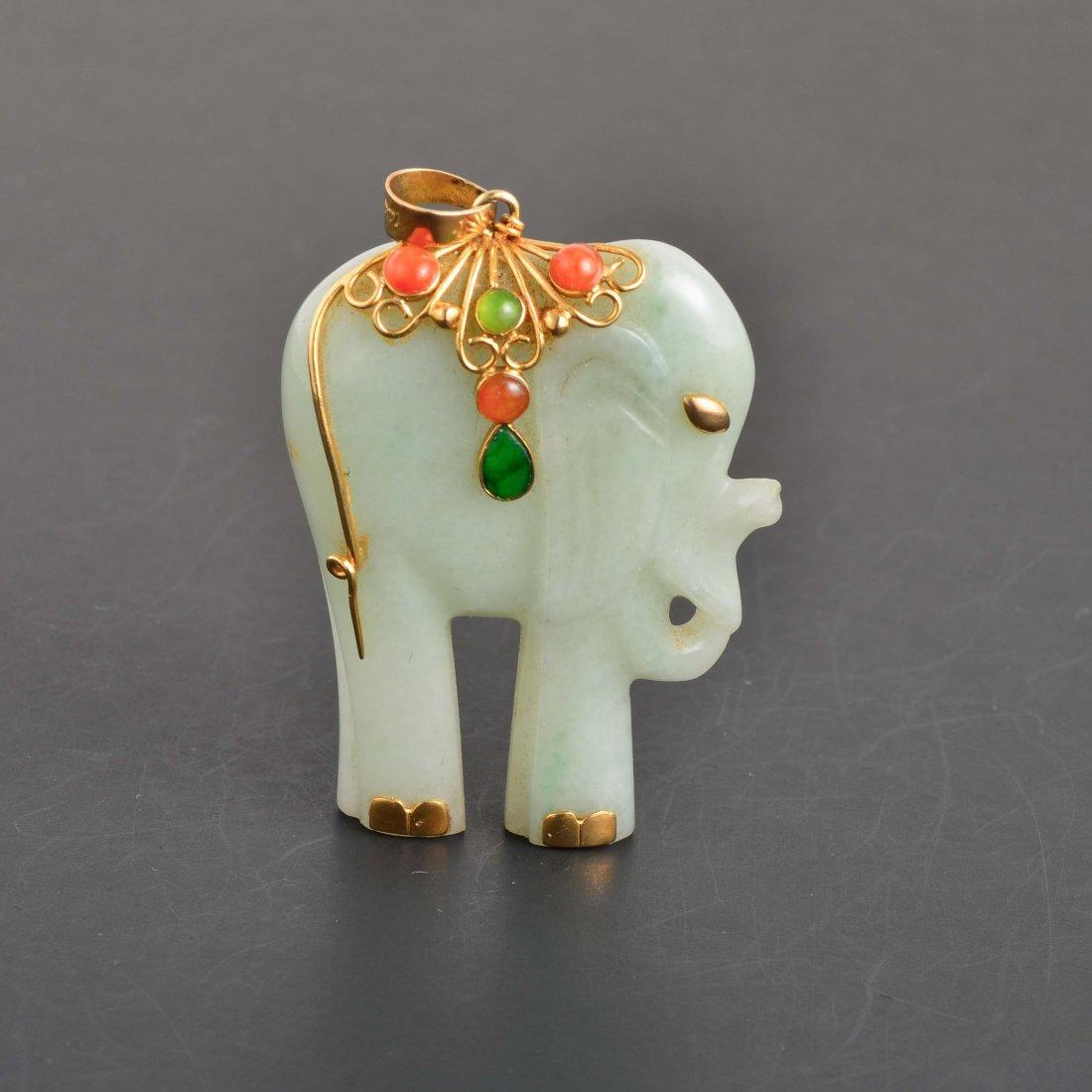 14K YG Green & Red Jadeite Elephant Pendant