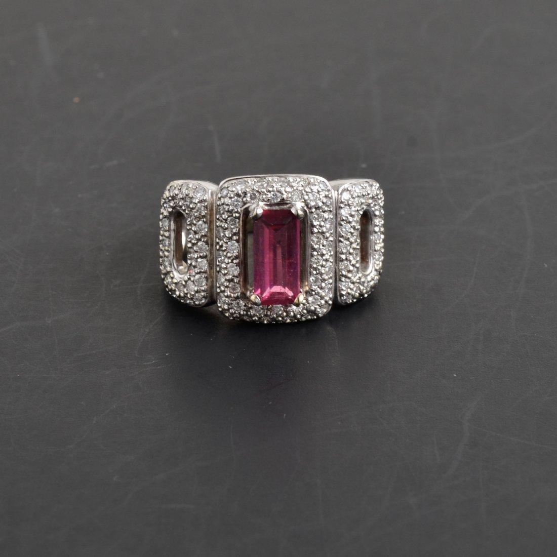 18K WG Diamond & Tourmaline Ring