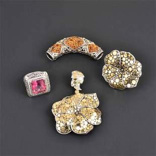 John Hardy one lot of 18K YG & Silver Jewelry