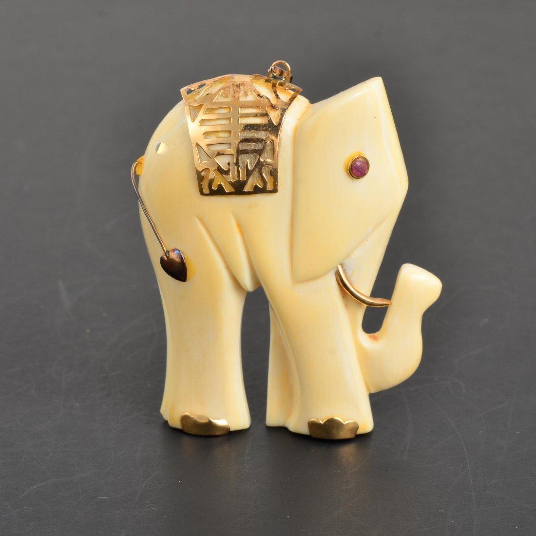 YG Ruby & Ivory Elephant Pendant