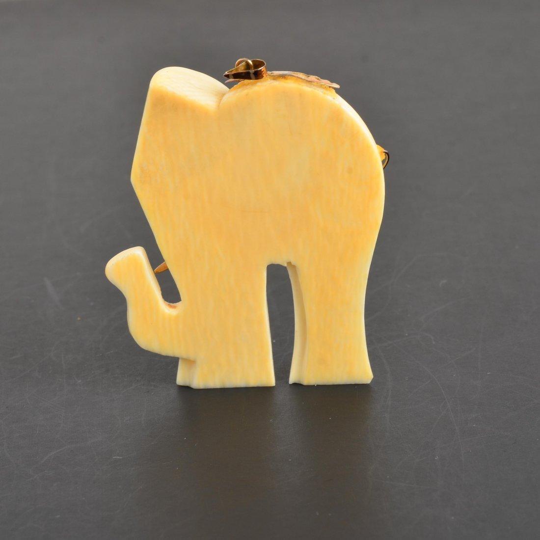 YG Ruby & Ivory Elephant Pendant - 2
