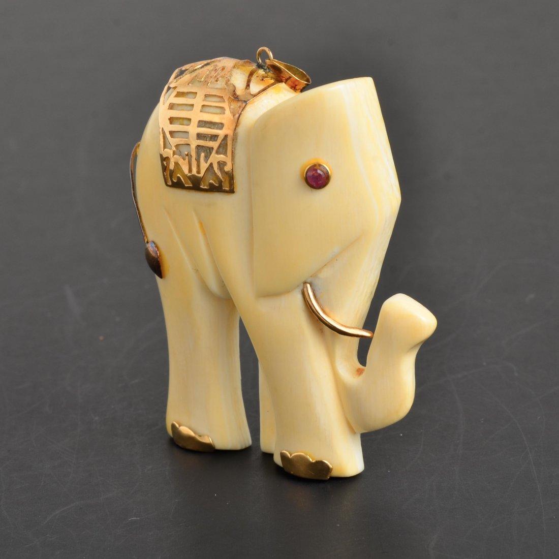 YG Ruby & Ivory Elephant Pendant - 3