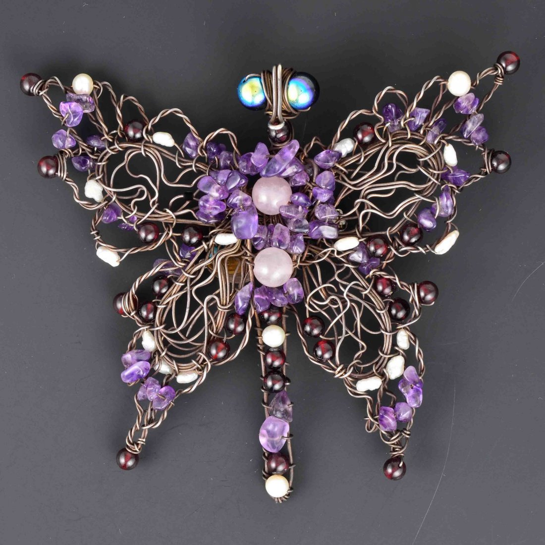 Susan Horth Sterling Silver Multi-Stones Butterfly Broo