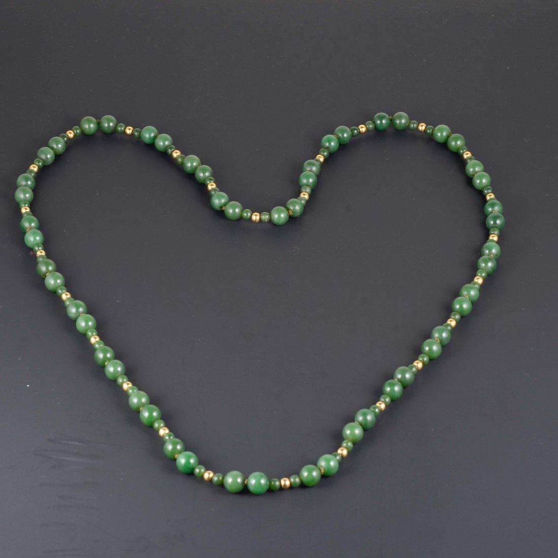 14K YG Jade Beads Necklace
