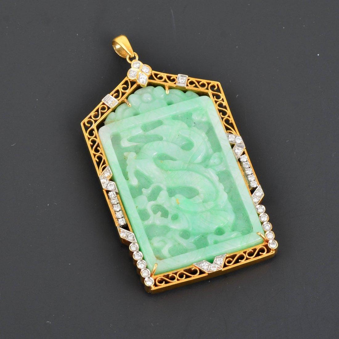 14K YG Carved Jadeite & Diamond Pendant
