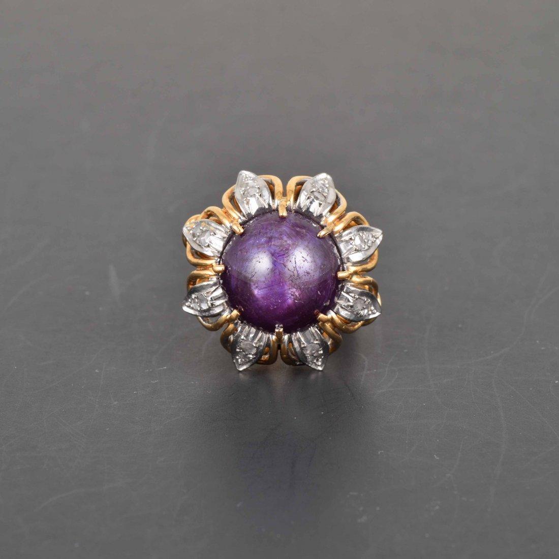 14K YG purple Stones with Diamond Ring