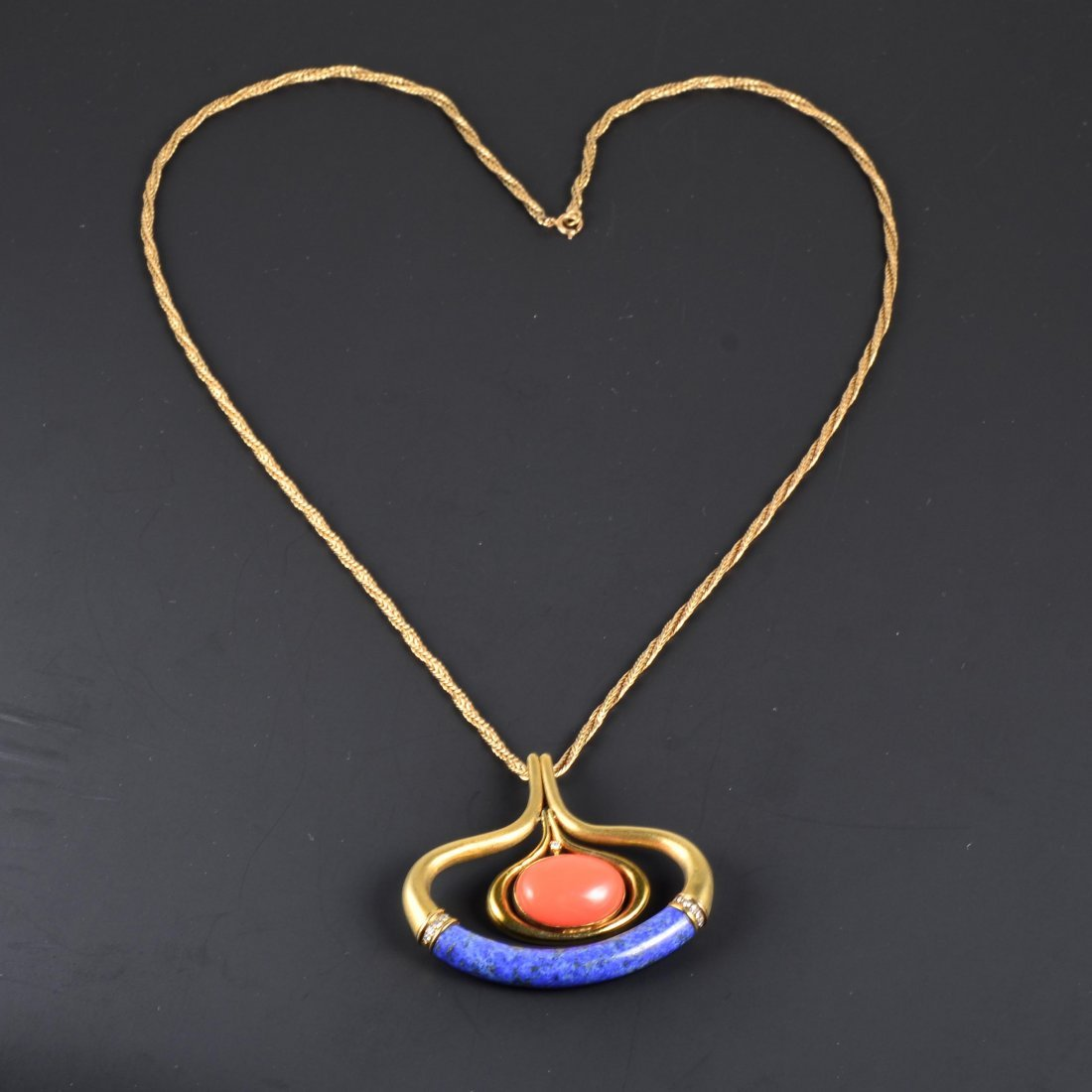 14K YG Necklace With Lapis Coral & Diamond Pendant