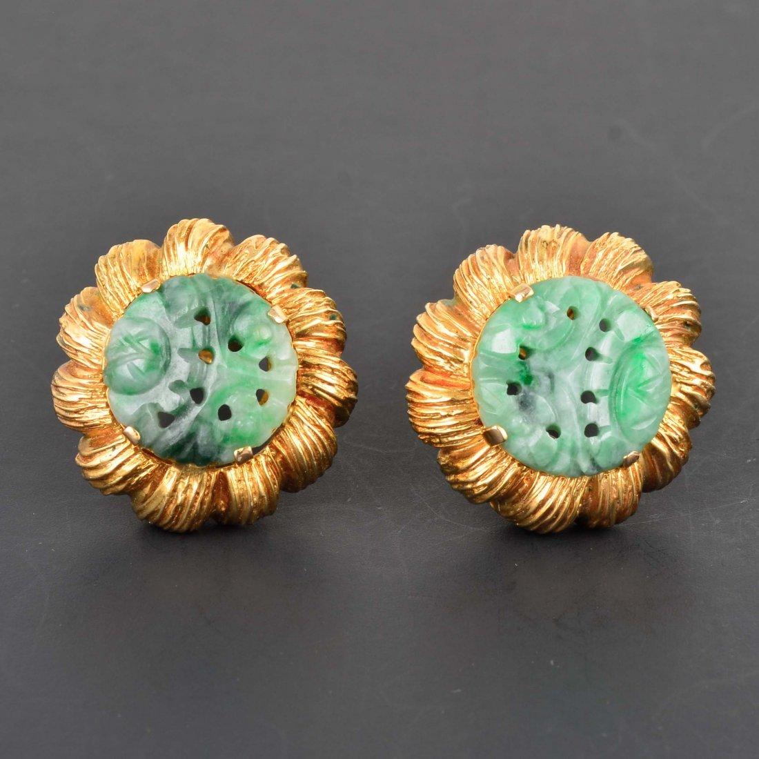 14K YG Carved Jadeite Clip-On Earrings