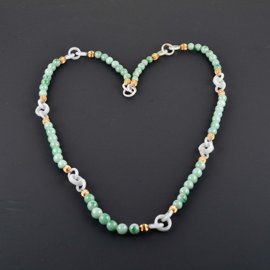 18K YG Jadeite Beads with white jade chain Necklace