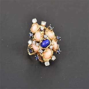 14K YG Multi-Stones Diamond Ring