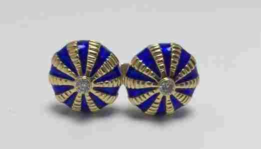 Tiffany & Co. 18k Gold Enamel Cufflinks