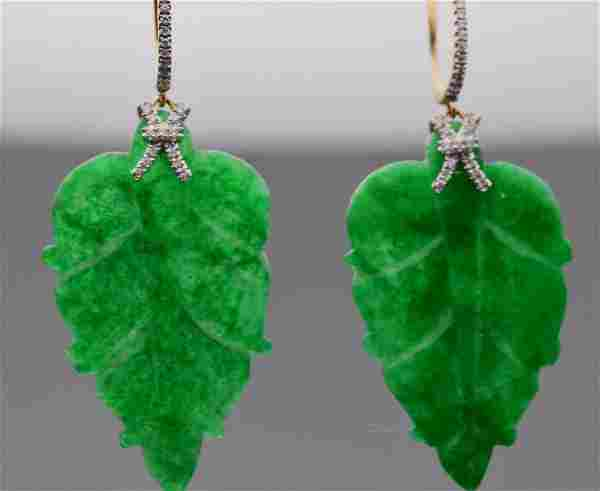 18k gold Gorgeous Jade Earrings with Diamonds.