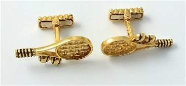 Tiffany & Co. 18k Gold Tennis Cufflinks with Enamel