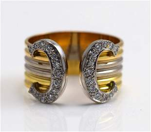 Cartier Two-Tone Color Gold and Diamond Ring