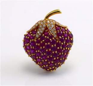 Tiffany & Co. Diamond and Burma Ruby 18k Gold Brooch
