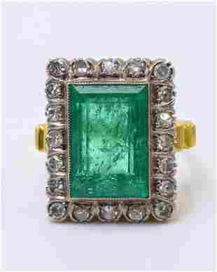 Antique Columbian Emerald and Diamond Ring