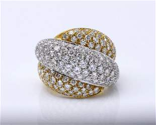 Yellow and White Gold Crossover Diamond Ring