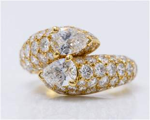 Cartier 18K Yellow Gold and Diamond Bypass Ring