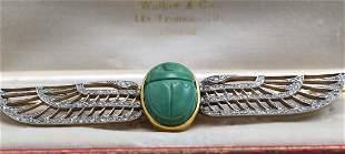 Antique Egyptian Art Nouveau Platinum Scarab Brooch