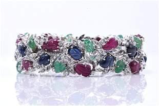"Art Deco Style ""Tutti Frutti"" 18k White Gold Bracelet"