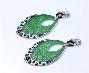 Art Deco Style 18K WG, Jade, Onyx & Sapphire Earrings