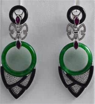 Art Deco Style 18K WG, Jade, Onyx & Tourmaline Earrings