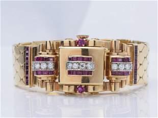 Retro 14K Rose Gold, Ruby and Diamond Watch