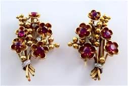 Cartier 18k YG Retro Ruby Flower and Diamond Pin Pair