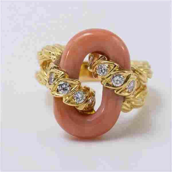 Van Cleef & Arpels 18K YG Coral And Diamond Ring 1970s