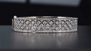 Mario Buccellati 18K White Gold and Diamond Bangle