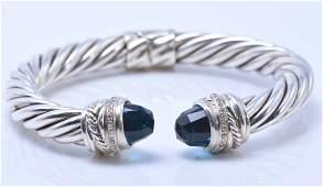 David Yurman Blue Topaz & Diamond Silver Bangle