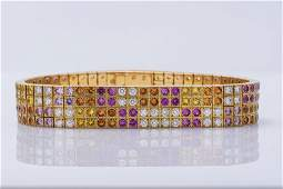 Cartier 18K YG Multi-Color Sapphire & Diamond Bracelet.