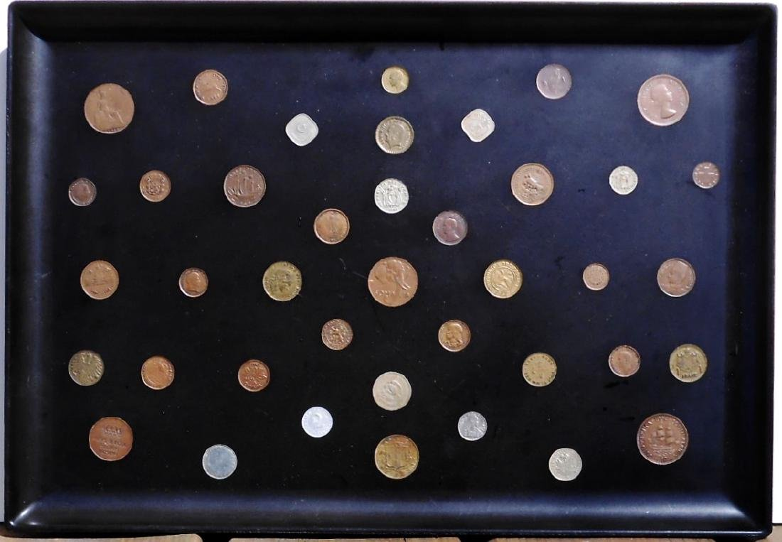 Vintage Tray With Inlaid Coins