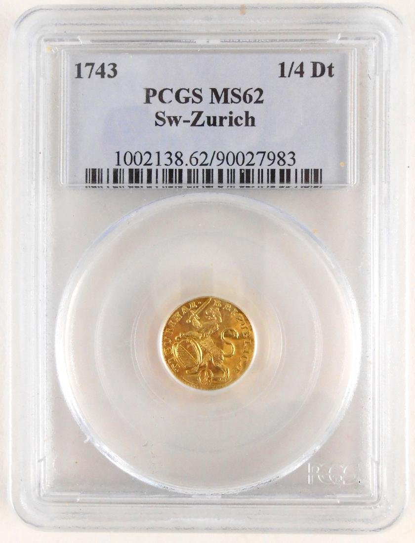 1743 Switzerland 1/4 Gold Ducat