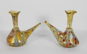 Pair Of European Enamelled Glass Cruets