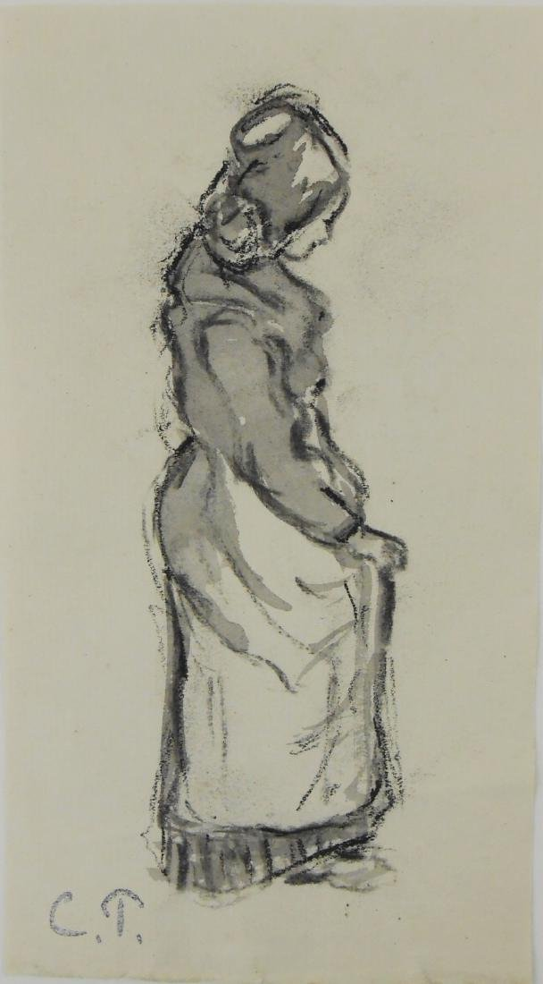 Camille Pissarro (1830-1903) Black Chalk Drawing