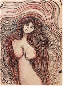 Edvard Munch (1863-1944) Mixed Media Drawing
