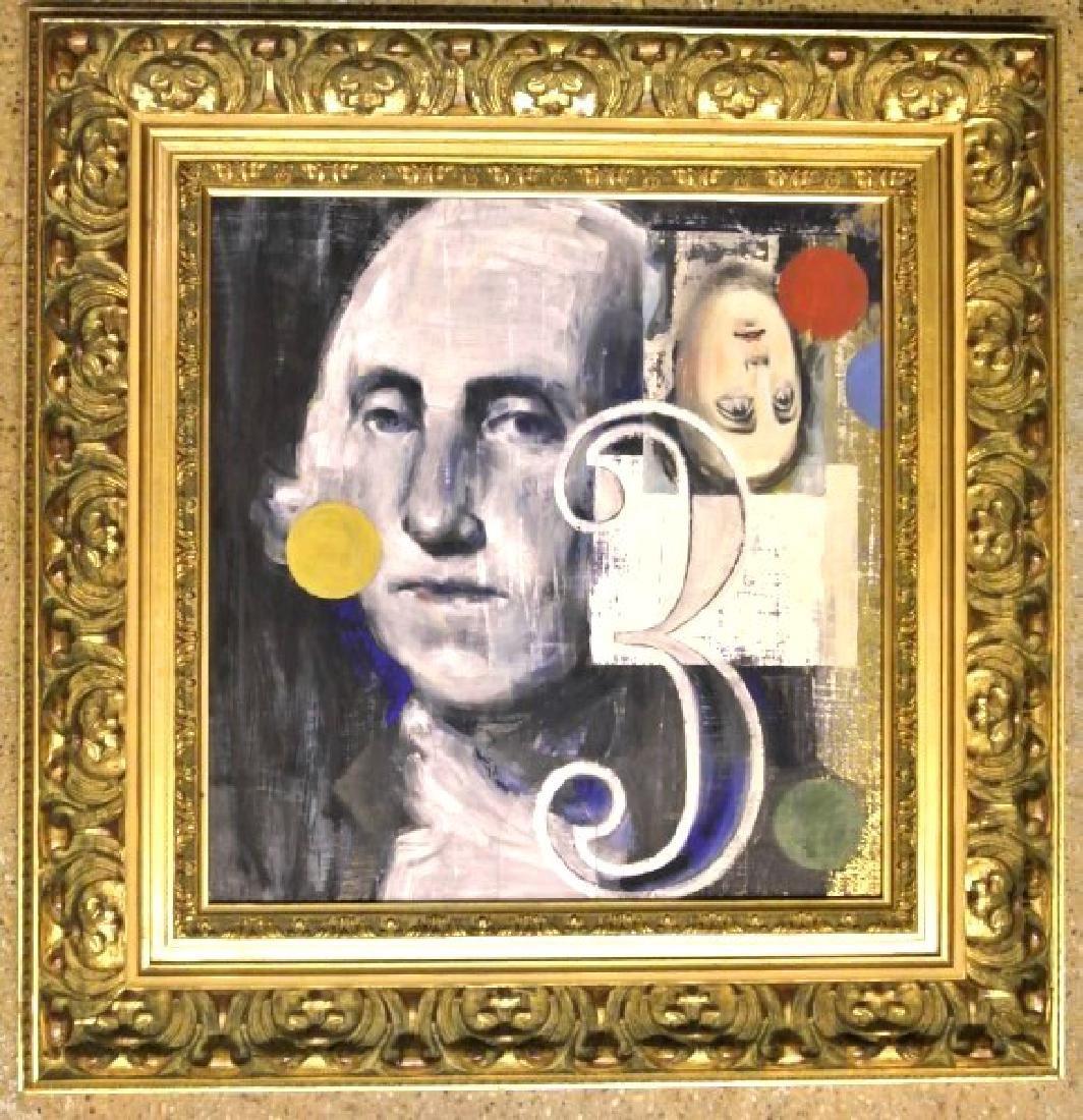 Modernist Painting Of George Washington, Signed